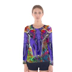 Abstract Elephant With Butterfly Ears Colorful Galaxy Women s Long Sleeve Tee by EDDArt