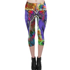 Abstract Elephant With Butterfly Ears Colorful Galaxy Capri Leggings  by EDDArt