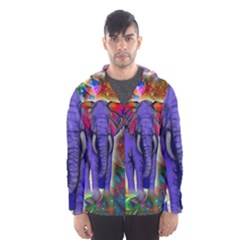 Abstract Elephant With Butterfly Ears Colorful Galaxy Hooded Wind Breaker (men) by EDDArt