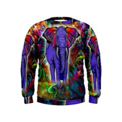 Abstract Elephant With Butterfly Ears Colorful Galaxy Kids  Sweatshirt by EDDArt
