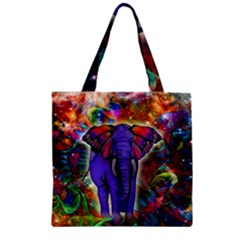 Abstract Elephant With Butterfly Ears Colorful Galaxy Zipper Grocery Tote Bag by EDDArt