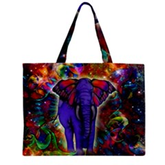 Abstract Elephant With Butterfly Ears Colorful Galaxy Zipper Mini Tote Bag by EDDArt