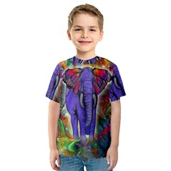 Abstract Elephant With Butterfly Ears Colorful Galaxy Kids  Sport Mesh Tee by EDDArt