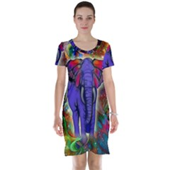 Abstract Elephant With Butterfly Ears Colorful Galaxy Short Sleeve Nightdress by EDDArt