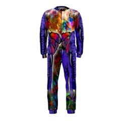 Abstract Elephant With Butterfly Ears Colorful Galaxy Onepiece Jumpsuit (kids) by EDDArt