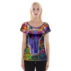 Abstract Elephant With Butterfly Ears Colorful Galaxy Women s Cap Sleeve Top by EDDArt