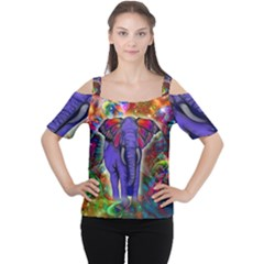 Abstract Elephant With Butterfly Ears Colorful Galaxy Women s Cutout Shoulder Tee by EDDArt