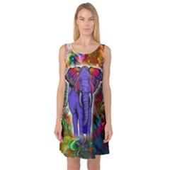 Abstract Elephant With Butterfly Ears Colorful Galaxy Sleeveless Satin Nightdress by EDDArt