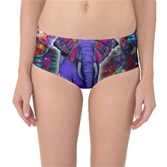 Abstract Elephant With Butterfly Ears Colorful Galaxy Mid Waist Bikini Bottoms by EDDArt