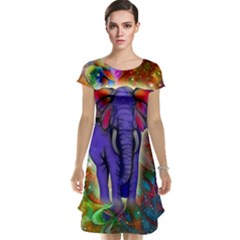 Abstract Elephant With Butterfly Ears Colorful Galaxy Cap Sleeve Nightdress by EDDArt