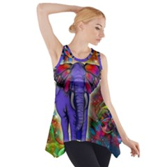 Abstract Elephant With Butterfly Ears Colorful Galaxy Side Drop Tank Tunic by EDDArt