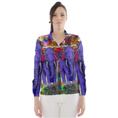 Abstract Elephant With Butterfly Ears Colorful Galaxy Wind Breaker (women) by EDDArt