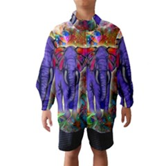 Abstract Elephant With Butterfly Ears Colorful Galaxy Wind Breaker (kids) by EDDArt