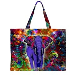 Abstract Elephant With Butterfly Ears Colorful Galaxy Zipper Large Tote Bag by EDDArt