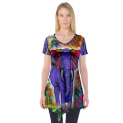 Abstract Elephant With Butterfly Ears Colorful Galaxy Short Sleeve Tunic  by EDDArt