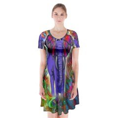 Abstract Elephant With Butterfly Ears Colorful Galaxy Short Sleeve V Neck Flare Dress by EDDArt