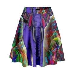 Abstract Elephant With Butterfly Ears Colorful Galaxy High Waist Skirt by EDDArt
