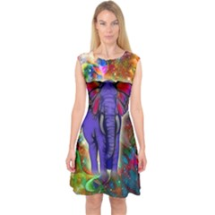 Abstract Elephant With Butterfly Ears Colorful Galaxy Capsleeve Midi Dress by EDDArt