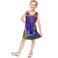 Abstract Elephant With Butterfly Ears Colorful Galaxy Kids  Tunic Dress by EDDArt