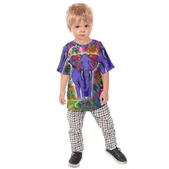Abstract Elephant With Butterfly Ears Colorful Galaxy Kids  Raglan Tee by EDDArt