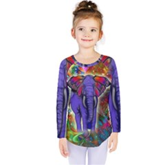 Abstract Elephant With Butterfly Ears Colorful Galaxy Kids  Long Sleeve Tee by EDDArt