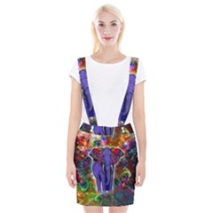 Abstract Elephant With Butterfly Ears Colorful Galaxy Suspender Skirt by EDDArt