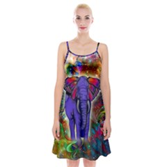 Abstract Elephant With Butterfly Ears Colorful Galaxy Spaghetti Strap Velvet Dress by EDDArt