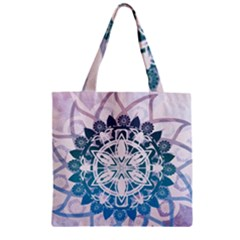 Mandalas Symmetry Meditation Round Zipper Grocery Tote Bag by Amaryn4rt