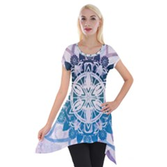 Mandalas Symmetry Meditation Round Short Sleeve Side Drop Tunic