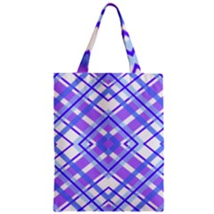 Geometric Plaid Pale Purple Blue Zipper Classic Tote Bag by Amaryn4rt
