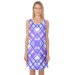 Geometric Plaid Pale Purple Blue Sleeveless Satin Nightdress
