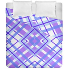 Geometric Plaid Pale Purple Blue Duvet Cover Double Side (california King Size) by Amaryn4rt