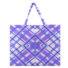 Geometric Plaid Pale Purple Blue Zipper Large Tote Bag by Amaryn4rt
