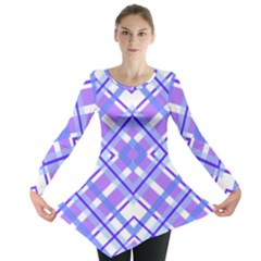 Geometric Plaid Pale Purple Blue Long Sleeve Tunic  by Amaryn4rt