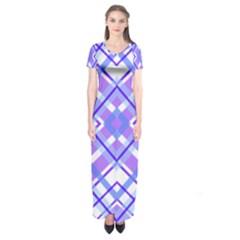 Geometric Plaid Pale Purple Blue Short Sleeve Maxi Dress