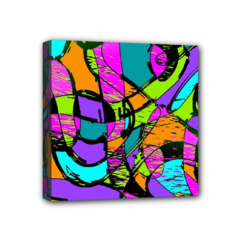Abstract Art Squiggly Loops Multicolored Mini Canvas 4  X 4  by EDDArt