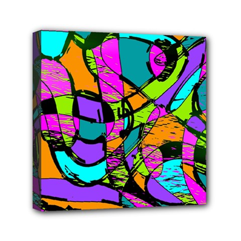 Abstract Art Squiggly Loops Multicolored Mini Canvas 6  X 6  by EDDArt