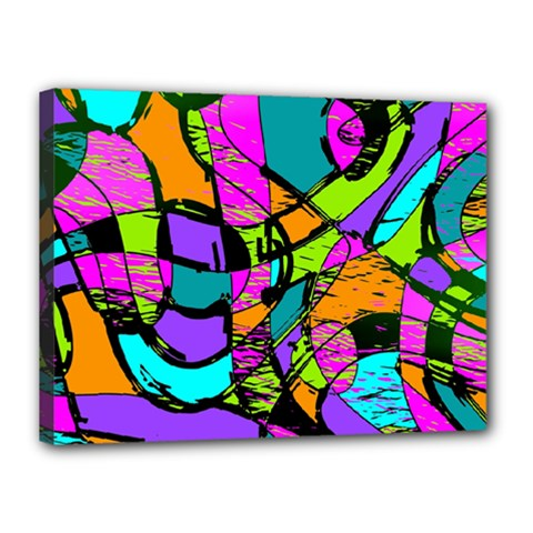 Abstract Art Squiggly Loops Multicolored Canvas 16  X 12  by EDDArt
