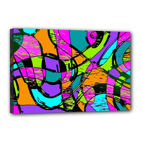 Abstract Art Squiggly Loops Multicolored Canvas 18  X 12  by EDDArt