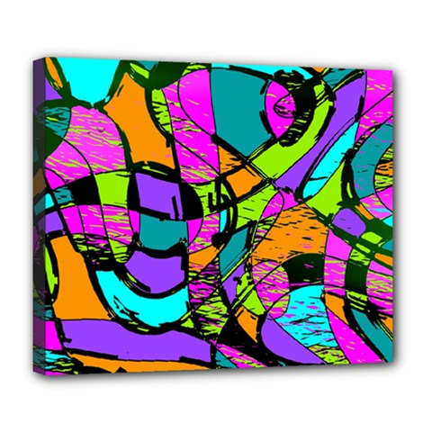 Abstract Art Squiggly Loops Multicolored Deluxe Canvas 24  X 20   by EDDArt