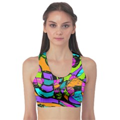 Abstract Art Squiggly Loops Multicolored Sports Bra by EDDArt