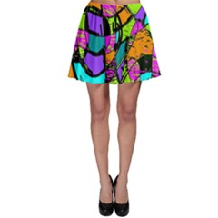 Abstract Art Squiggly Loops Multicolored Skater Skirt by EDDArt