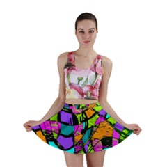 Abstract Art Squiggly Loops Multicolored Mini Skirt by EDDArt