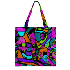 Abstract Art Squiggly Loops Multicolored Grocery Tote Bag by EDDArt