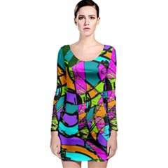 Abstract Art Squiggly Loops Multicolored Long Sleeve Bodycon Dress by EDDArt