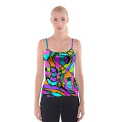 Abstract Art Squiggly Loops Multicolored Spaghetti Strap Top by EDDArt