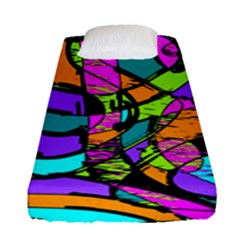 Abstract Art Squiggly Loops Multicolored Fitted Sheet (single Size) by EDDArt