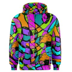 Abstract Art Squiggly Loops Multicolored Men s Zipper Hoodie by EDDArt