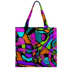 Abstract Art Squiggly Loops Multicolored Zipper Grocery Tote Bag by EDDArt