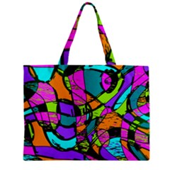 Abstract Art Squiggly Loops Multicolored Zipper Mini Tote Bag by EDDArt